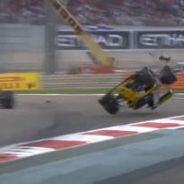 VIDEO: Hulkenberg flipped upside down in horror crash!