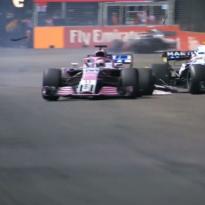 VIDEO: Perez smashes into Sirotkin!