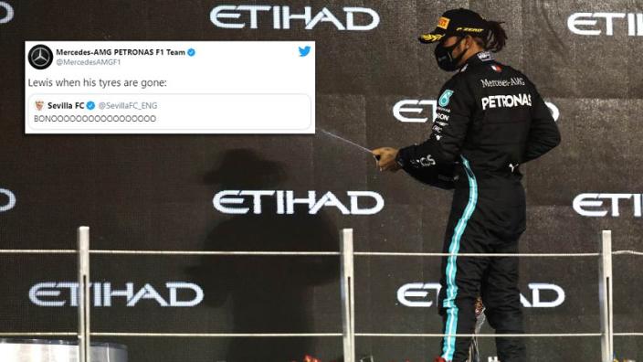 Mercedes neemt Hamilton in de zeik op social media