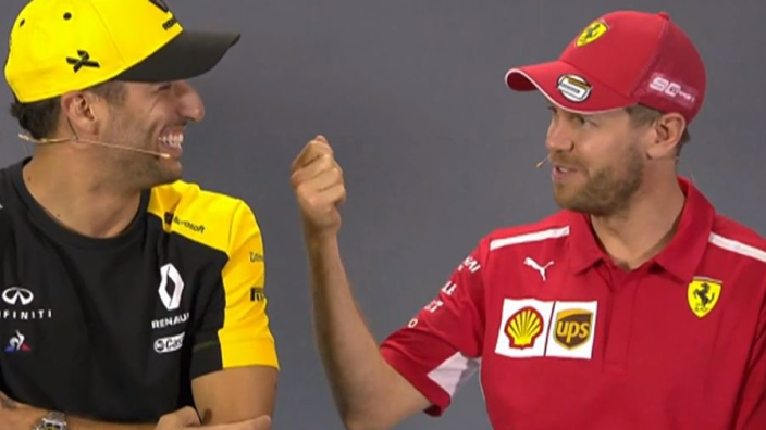 VIDEO: Vettel's Australian accent cracks up Ricciardo