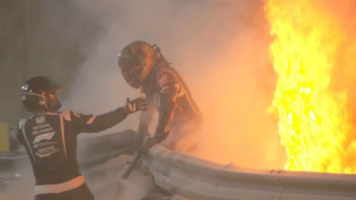 Grosjean miraculously survives horrific Bahrain GP lap one fireball crash