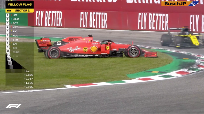 VIDEO: Vettel spins out of Italian GP contention again, wipes out Stroll