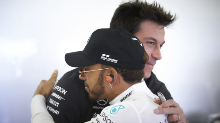 Hamilton jabs Wolff: His wife is a better driver!