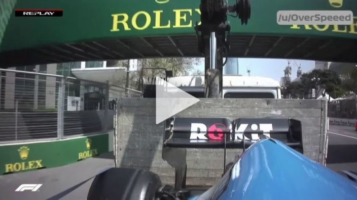 VIDEO: Truck carrying Russell's Williams hits bridge!