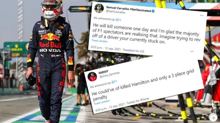 """Formule 1-fans over gridstraf Verstappen: """"Hij had Hamilton kunnen vermoorden"""""""