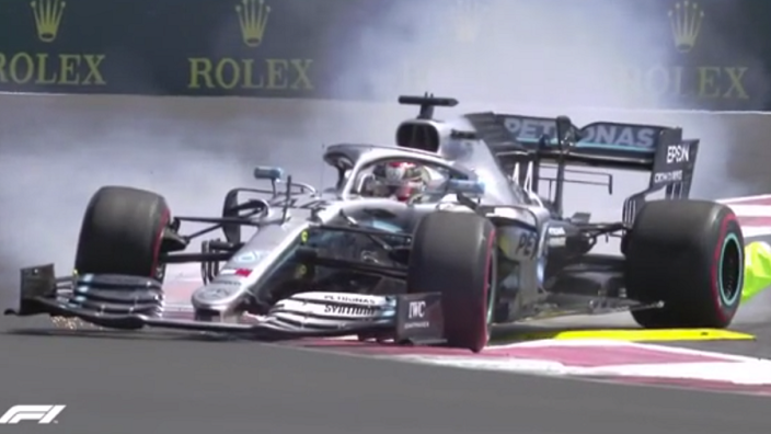 VIDEO: Hamilton smashes Paul Ricard bollard!