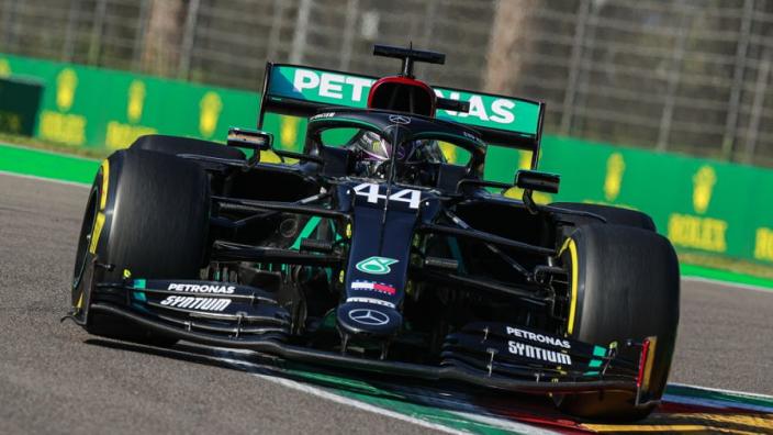 "Hamilton bemoans ""p*ss-poor"" final qualifying lap that hands Bottas pole at Imola"