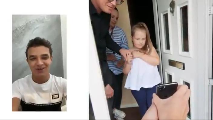 VIDEO: Lando Norris verrast zesjarige superfan Eva met speciale boodschap en cadeau