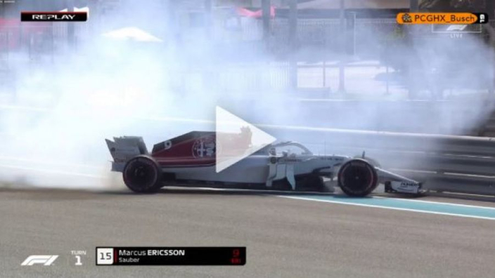 VIDEO: Ericsson into the barriers in Abu Dhabi