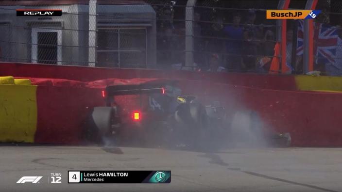 VIDEO: Hamilton crash halts FP3 at Spa