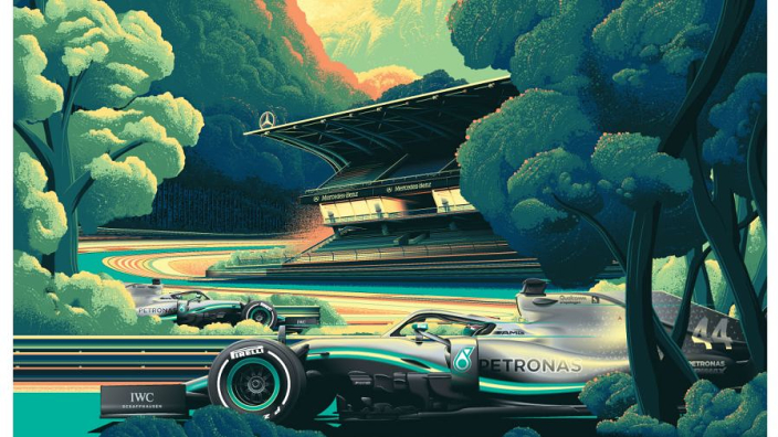 Get your hands on Mercedes' epic Hockenheim poster and help Cancer Research!