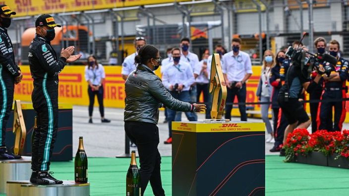 Hamilton Hails First Black Woman To Stand On An F1 Podium Gpfans Com