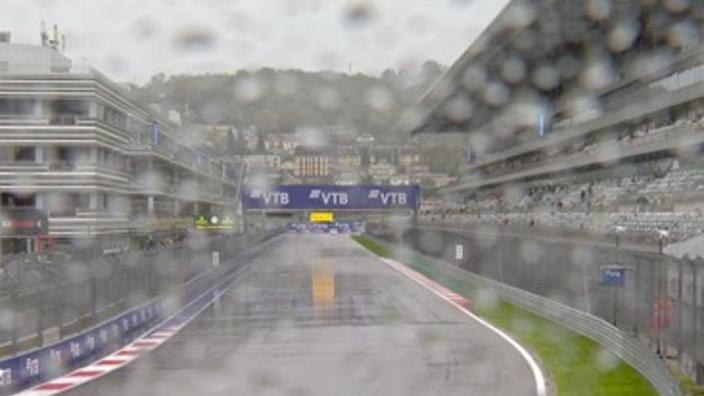 Hamilton skips down a drenched pit lane - F1 teams react to Sochi rain