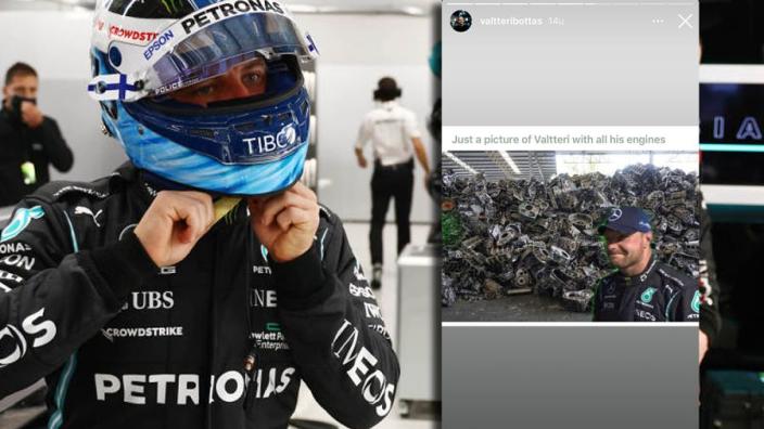 Bottas toont zelfspot op Instagram: 'Valtteri met al zijn gebruikte motoren'