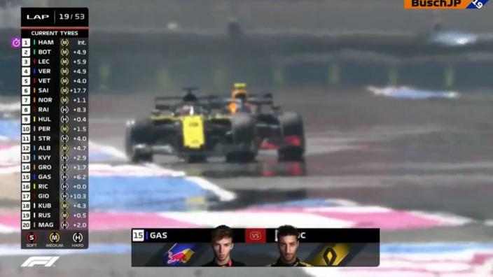 VIDEO: Ricciardo passeert Gasly op het rechte stuk