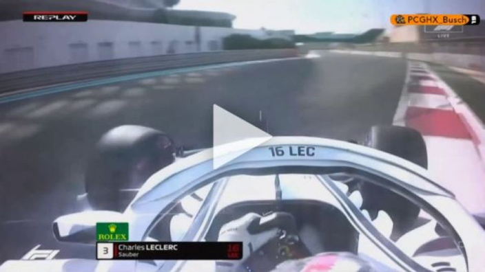 VIDEO: Leclerc destroys rear wing in FP3 crash