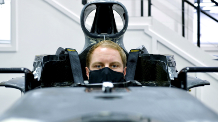 Bottas gets comfortable in the Mercedes W12