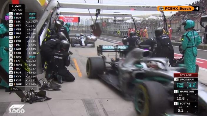VIDEO: Hamilton and Bottas enjoy perfect double pitstop!