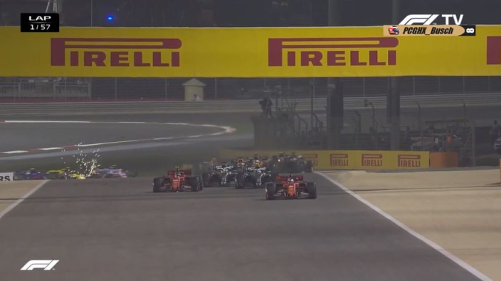 VIDEO: Leclerc loses out in crazy Bahrain GP start