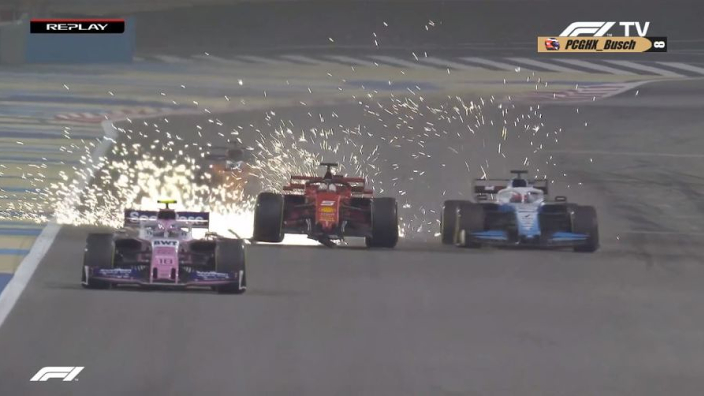 VIDEO: Vettel front wing flies off after Hamilton battle!