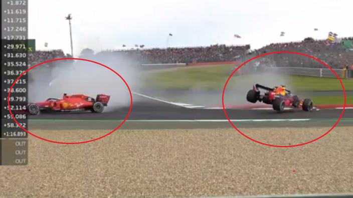 VIDEO: Vettel punts Verstappen off at Silverstone!