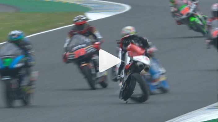 VIDEO: Runaway bike swerves into traffic in crazy Moto3 crash!