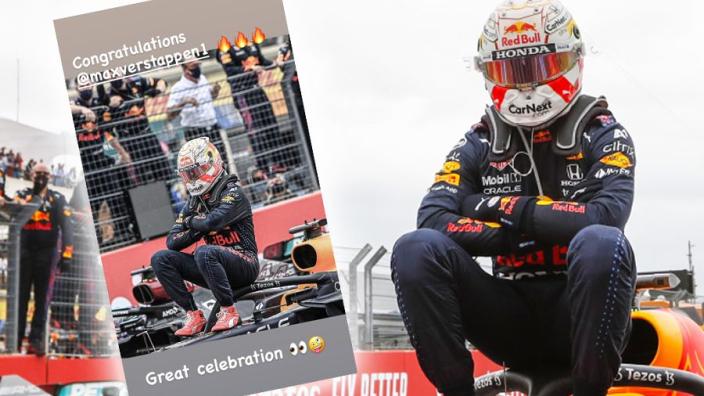 EK-ster en Fransman Kylian Mbappé feliciteert Max Verstappen