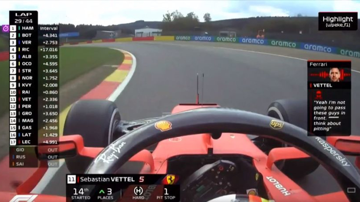 "Boordradio: Vettel duidelijk tegenover engineer: ""F*cking think about pitting"""