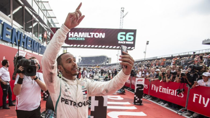 Hamilton using #1 on car in Abu Dhabi