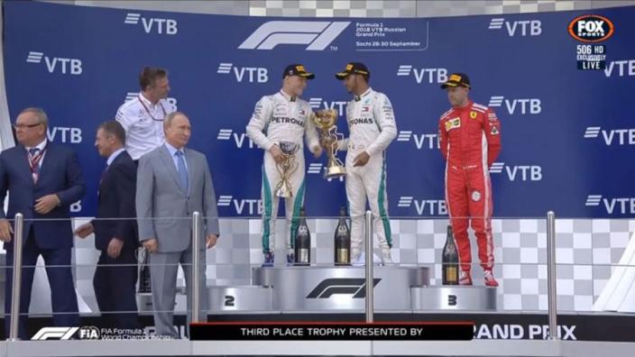 VIDEO: Hamilton offers winner's trophy to Bottas!