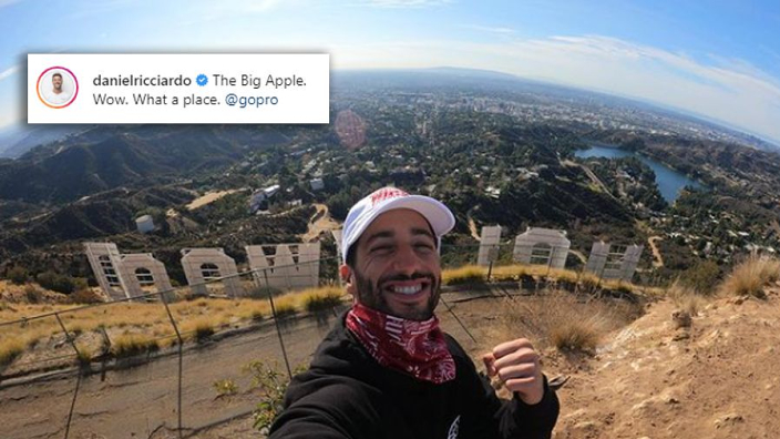 FOTO: Daniel Ricciardo bezoekt 'The Big Apple' in Hollywood