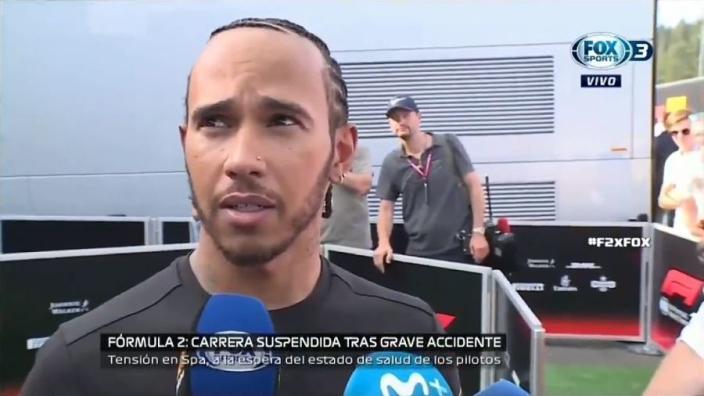 Hamilton reacts to Formula 2 crash: 'That's terrifying'