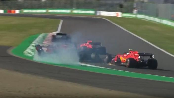 Verstappen spins after Leclerc collision at Suzuka start