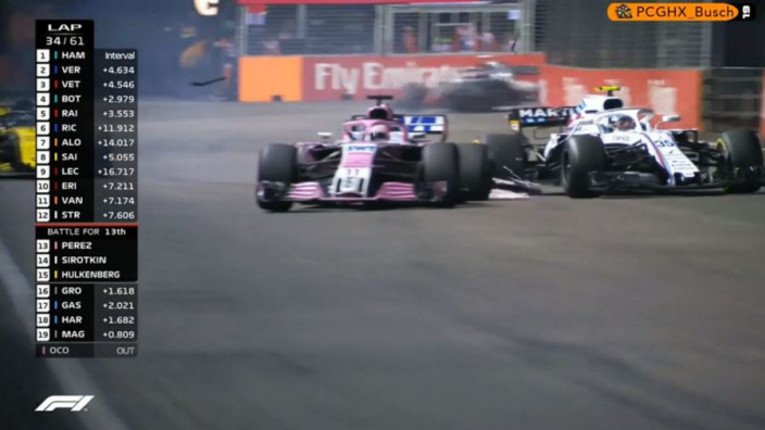 VIDEO: Perez smashes into Sirotkin!