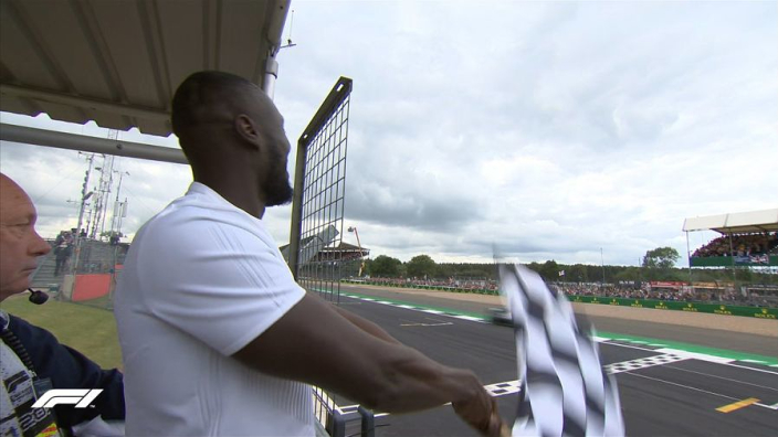 Stormzy drops chequered flag at British Grand Prix to crown Hamilton six-time winner