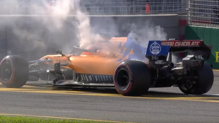 VIDEO: Sainz out after McLaren catches fire