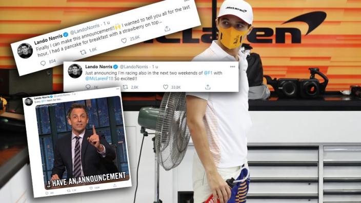 """Norris steekt de draak met F1-teams en coureurs: """"Ik wil ook wat aankondigen!"""""""