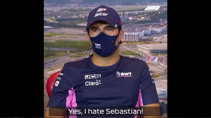 """Perez ontvangt Vettel met open armen: """"Ik haat hem"""""""
