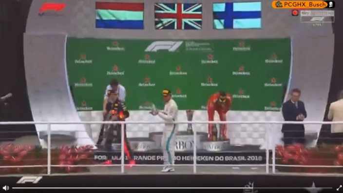 VIDEO: Verstappen storms off podium