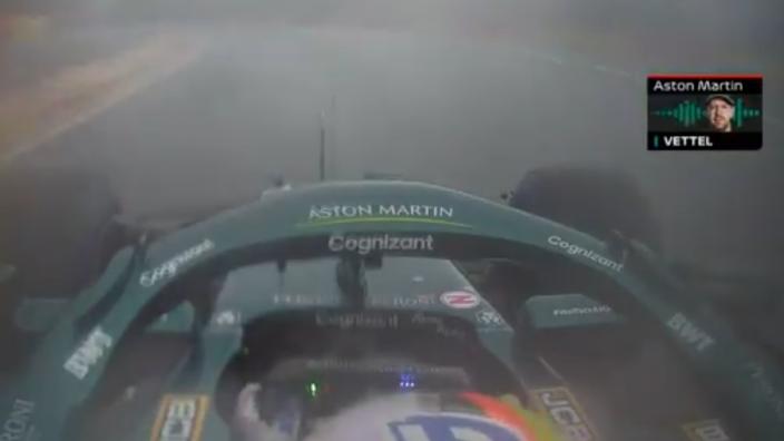 """VIDEO: Vettel door het lint na crash Norris: """"Wat de f*ck heb ik nou gezegd?!"""""""