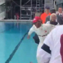 VIDEO: Hamilton celebrates Monaco win with a dive into the pool!